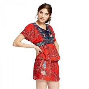 NEW Xhilaration Embroidered Blouse Medium Bandana